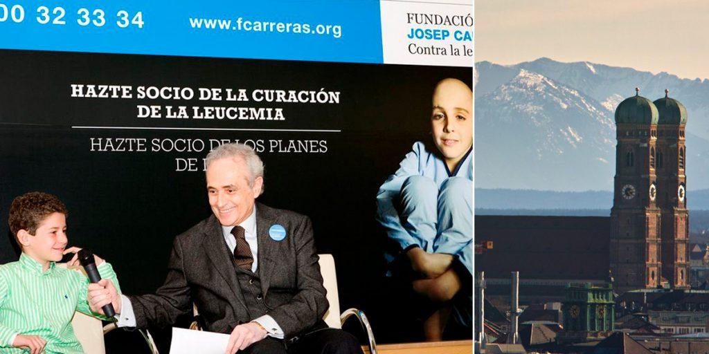 Stifter José Carreras 2009 mit einem von Leukämie geheilten Kind. Die deutsche Stiftung des Startenors hat ihren Sitz in München.