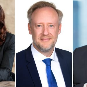 Austausch über aktuelle Herausforderungen für Stiftungen im Coronajahr und darüber hinaus: Katja Bär (Hans und Ilse Breuer-Stiftung), Lennart Graeger (Wiesbadener Volksbanks) und Ralph Holler (Union Investment, von links).