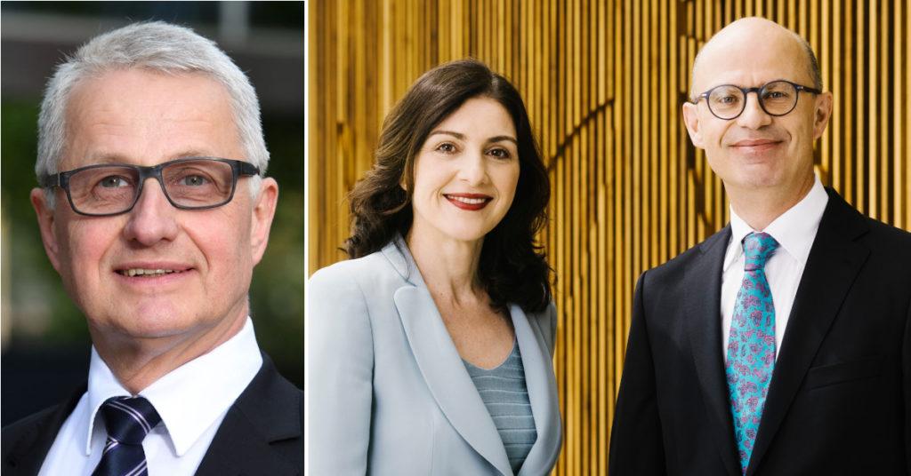 Joachim Rogall (links) stand der Geschäftsführung der Robert-Bosch-Stiftung seit 2017 vor. Nun hat er an Sandra Breka und Bernhard Straub übergeben.
